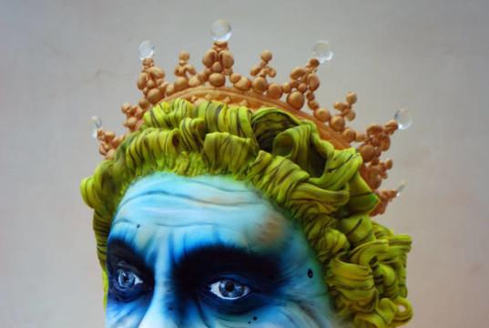 Joker and Queen Elizabeth spliced together cake by Erin Schwartz