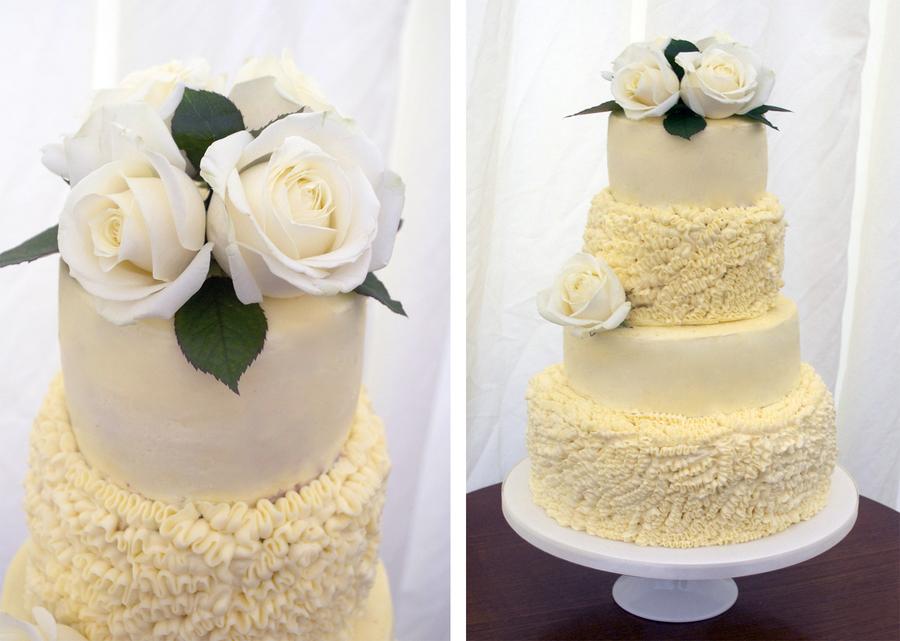 4 Tier Red Velvet Cake With Buttercream Ruffles And Fresh Roses