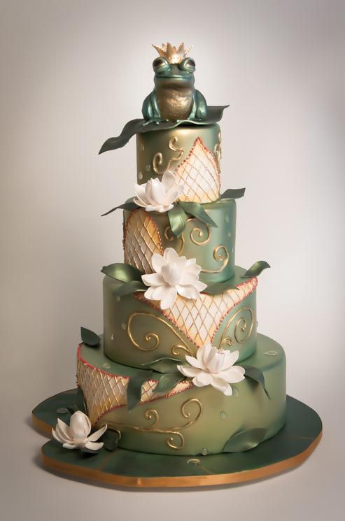 A Pearlescent Frog Prince Awaits Atop a Water Lily-Covered Cake