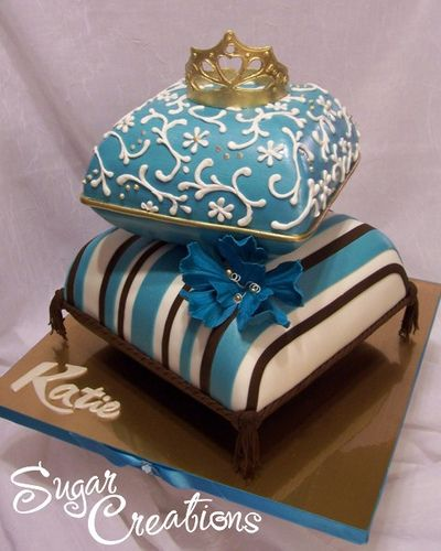 Blue Brown and White Pillow Cake