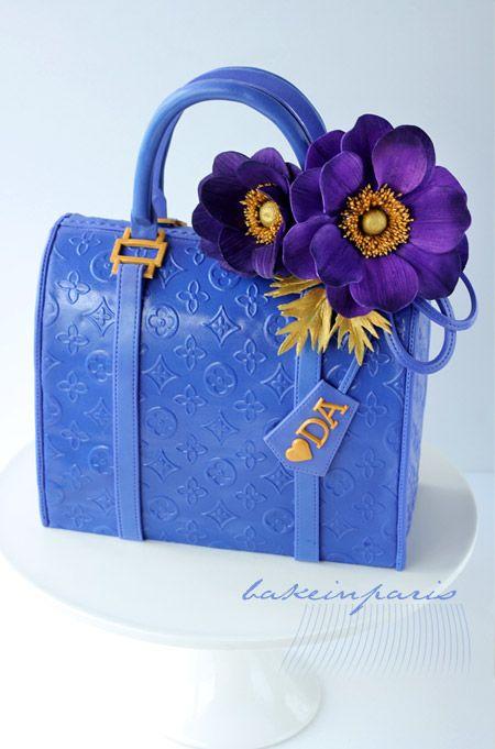 Blue and Purple LV Purse Cake