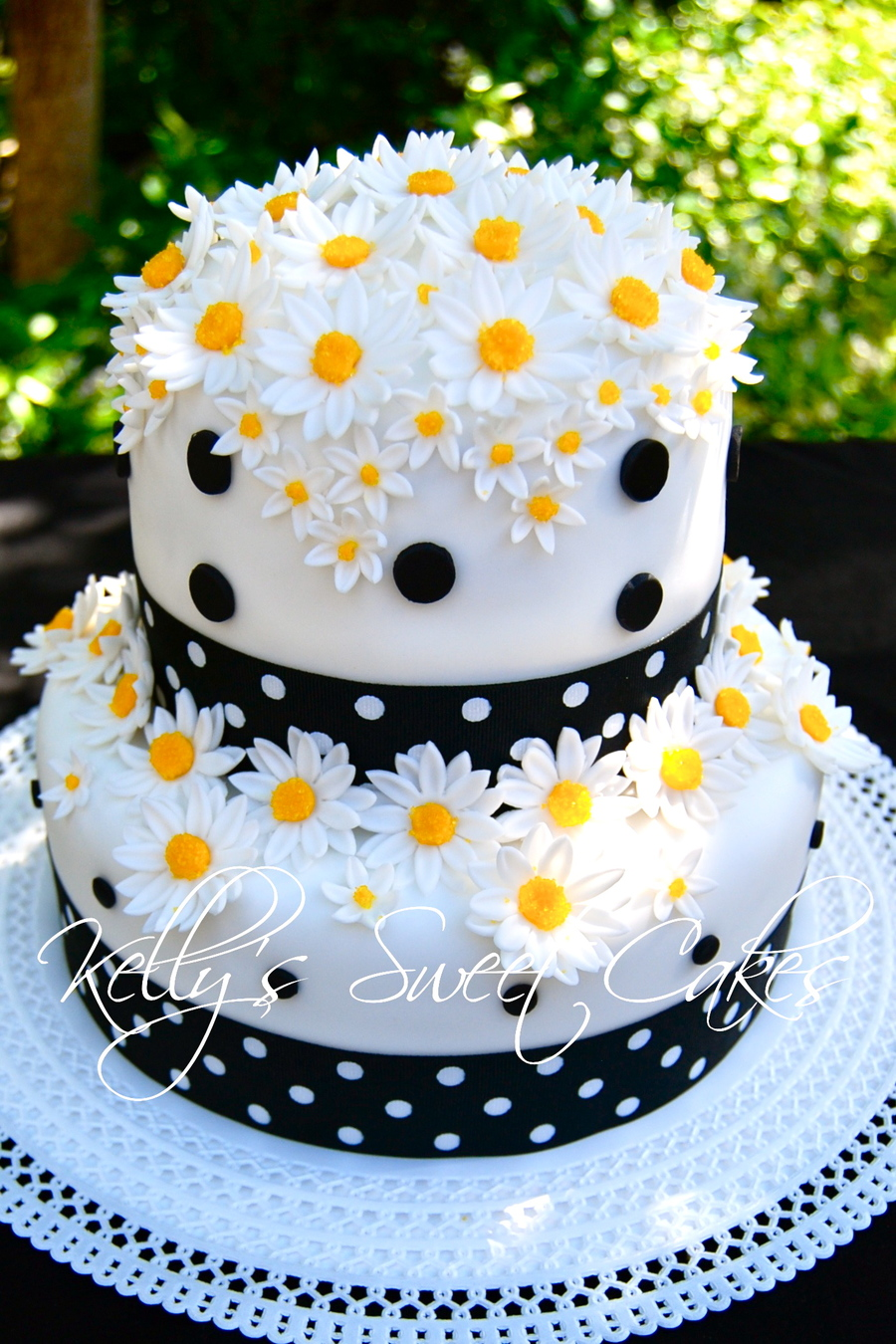 Bright Dots On Chocolate Cake