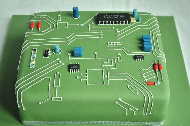 Circuit Board Birthday Cake