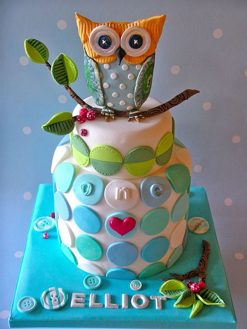 Colorful Owl On Top Cake
