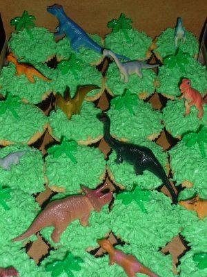 Dinosaur Cupcakes in Green Field
