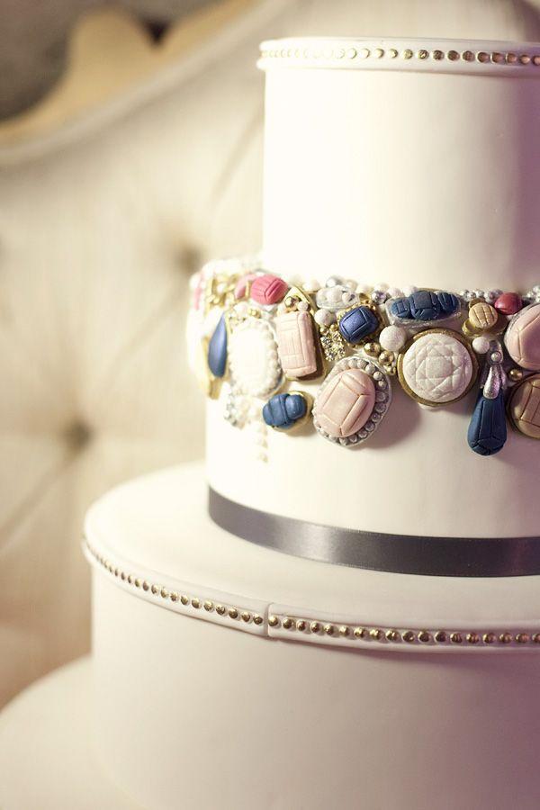 Pretty Jeweled Wedding Cake