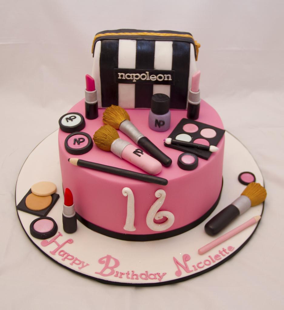 Fine Sweet 16 Makeup Cakes Saubhaya Makeup Personalised Birthday Cards Veneteletsinfo