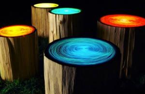 Wonderful DIY Glowing in the Dark Log Campfire Stools