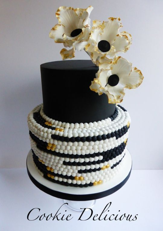 Black And White Stripe Cake One Tier