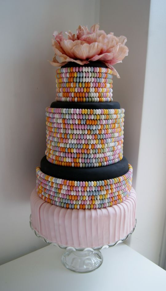 Colorful Candy Necklaces Tiered Cake
