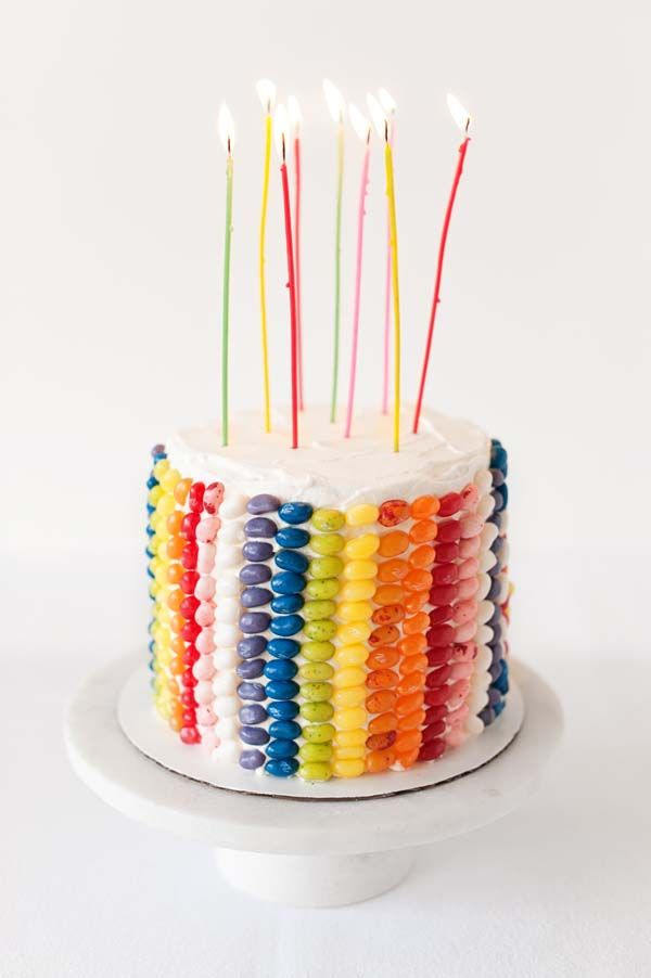 Colorful Rows of Jelly Beans Birthday Cake