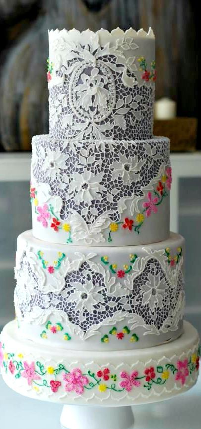 Vintage Lace and Embroidery Cake